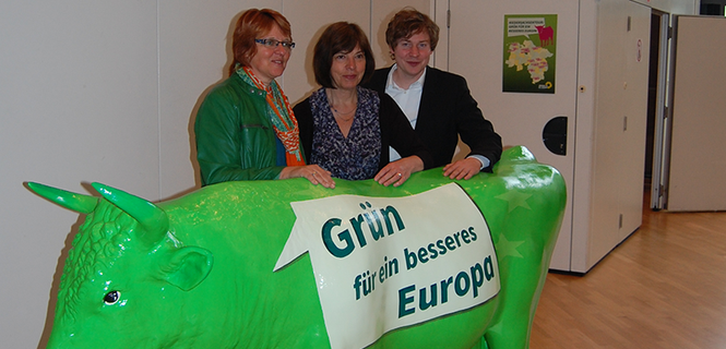 V.l.: Landesvorsitzende Meta Janssen-Kucz, Spitzenkandidatin Rebecca Harms, Landesvorsitzender Jan Haude